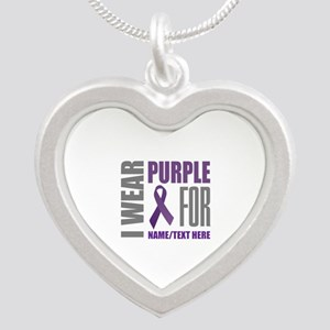 Purple Awareness Ribbon Cust Silver Heart Necklace