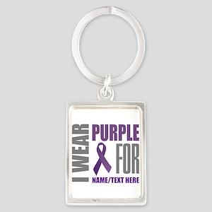 Purple Awareness Ribbon Customiz Portrait Keychain