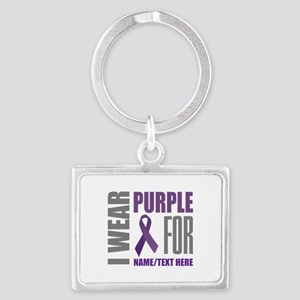 Purple Awareness Ribbon Customi Landscape Keychain