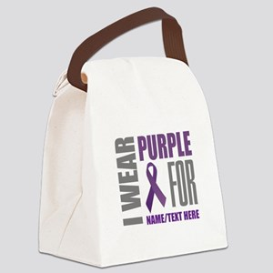 Purple Awareness Ribbon Customize Canvas Lunch Bag