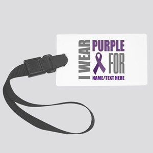 Purple Awareness Ribbon Customiz Large Luggage Tag