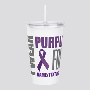 Purple Awareness Ribbo Acrylic Double-wall Tumbler