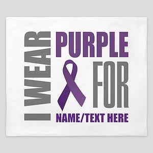 Purple Awareness Ribbon Customized King Duvet
