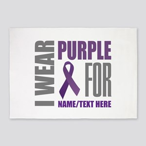 Purple Awareness Ribbon Customized 5'x7'Area Rug