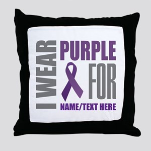 Purple Awareness Ribbon Customized Throw Pillow