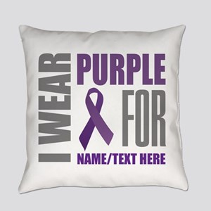 Purple Awareness Ribbon Customized Everyday Pillow