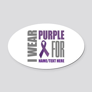 Purple Awareness Ribbon Customized Oval Car Magnet