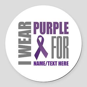 Purple Awareness Ribbon Customize Round Car Magnet