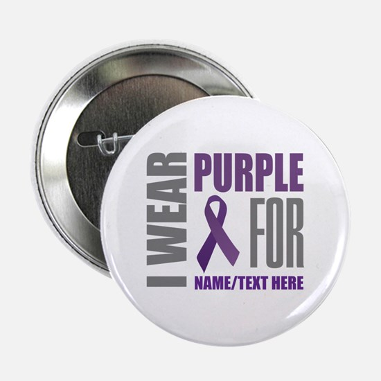"Purple Awareness Ribbon Customized 2.25"" Button"