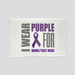 Purple Awareness Ribbon Customize Rectangle Magnet