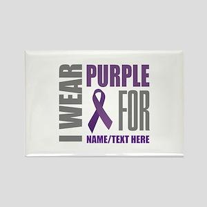 Purple Awareness Ribbon Customize Rectangle Magnet