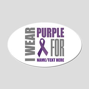 Purple Awareness Ribbon Cust 20x12 Oval Wall Decal