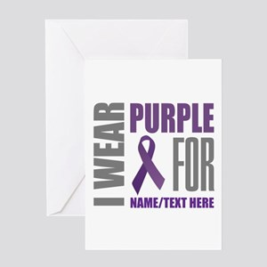 Purple Awareness Ribbon Customized Greeting Card
