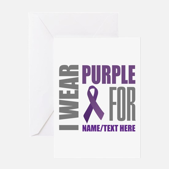 Purple Awareness Ribbon Customized Greeting Card