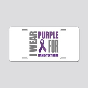 Purple Awareness Ribbon Cus Aluminum License Plate