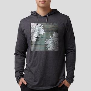 primitive lace teal barnwood Mens Hooded Shirt