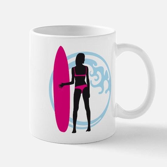 surfer wave board star beach babe sexy girl Mug