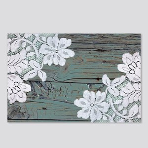 primitive lace blue barnw Postcards (Package of 8)