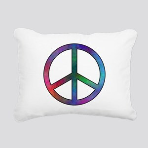 Multicolor Peace Sign Rectangular Canvas Pillow