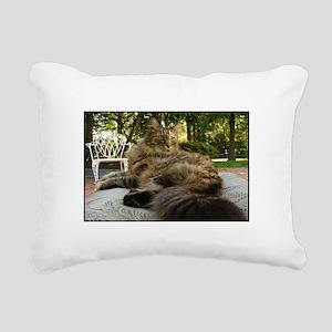 Maine Coon cat bushy tail Rectangular Canvas Pillo