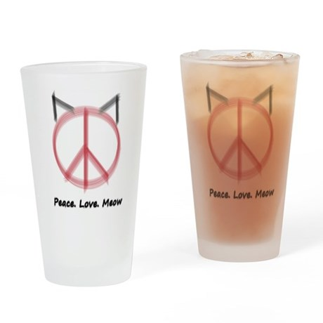 Peace Cat Drinking Glass