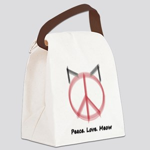 Peace Cat Canvas Lunch Bag