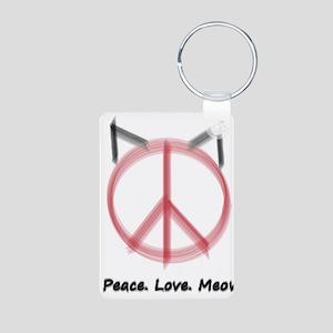 Peace Cat Aluminum Photo Keychain