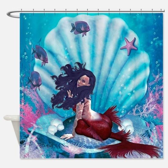 Mermaid in Shell Shower Curtain