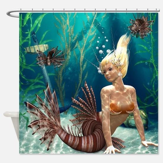 Lionfish Mermaid Shower Curtain