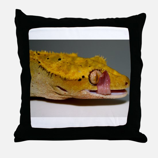 Crested Gecko Lick Throw Pillow