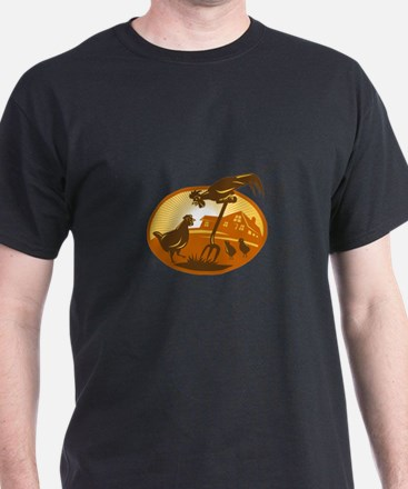 rooster hen chicken and chicks spade retro T-Shirt