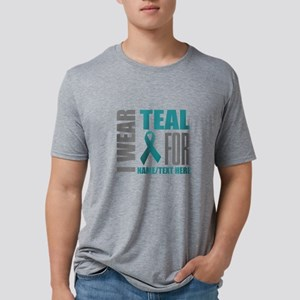 Teal Awareness Ribbon Custo Mens Tri-blend T-Shirt