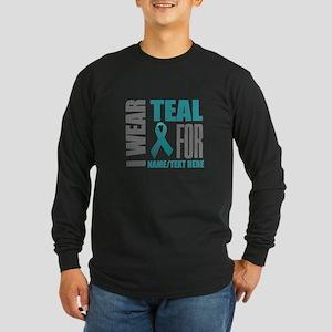 Teal Awareness Ribbon Cus Long Sleeve Dark T-Shirt