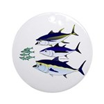 Three Tuna Chase Sardines fish Ornament (Round)