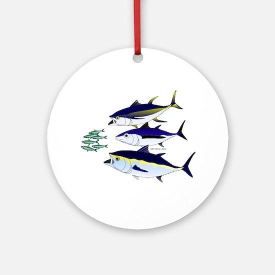 Three Tuna Chase Sardines fish Ornament (Round)
