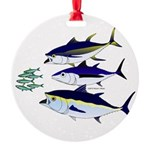 Three Tuna Chase Sardines fish Round Ornament