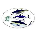 Three Tuna Chase Sardines fish Sticker (Oval 10 pk