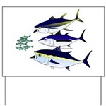 Three Tuna Chase Sardines fish Yard Sign