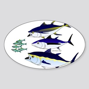 Three Tuna Chase Sardines fish Sticker (Oval)