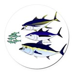 Three Tuna Chase Sardines fish Round Car Magnet