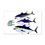 Three Tuna Chase Sardines fish 20x12 Wall Decal