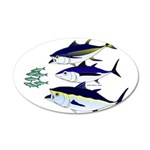 Three Tuna Chase Sardines fish 20x12 Oval Wall Dec