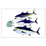 Three Tuna Chase Sardines fish Large Poster