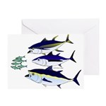 Three Tuna Chase Sardines fish Greeting Card