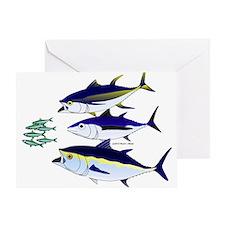 Three Tuna Chase Sardines fish Greeting Card