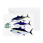 Three Tuna Chase Sardines fish Greeting Cards (Pk