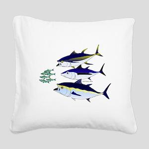 Three Tuna Chase Sardines fish Square Canvas Pillo