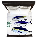 Three Tuna Chase Sardines fish King Duvet