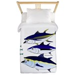 Three Tuna Chase Sardines fish Twin Duvet