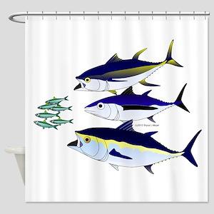 Three Tuna Chase Sardines fish Shower Curtain
